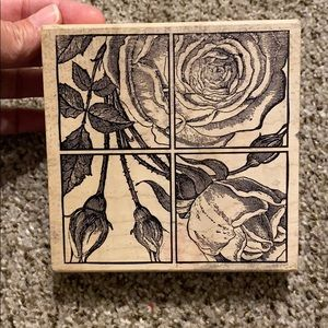 Rose Block Rubber Stamp